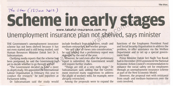Unemployment insurance plan not shelved