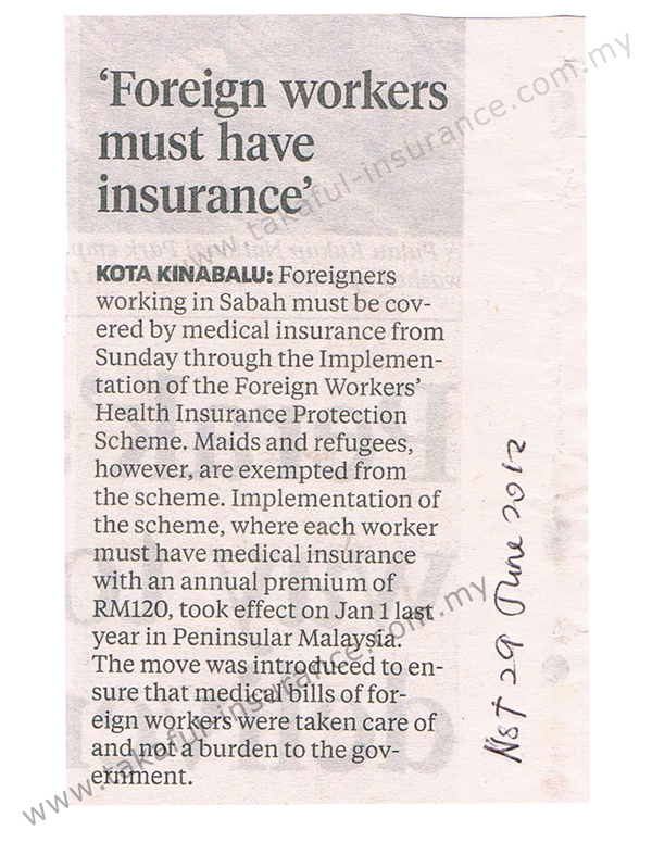 Foreign Workers Must Have Insurance