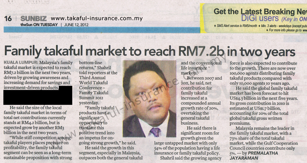 Family Takaful Market To Reach RM7.2b in two years