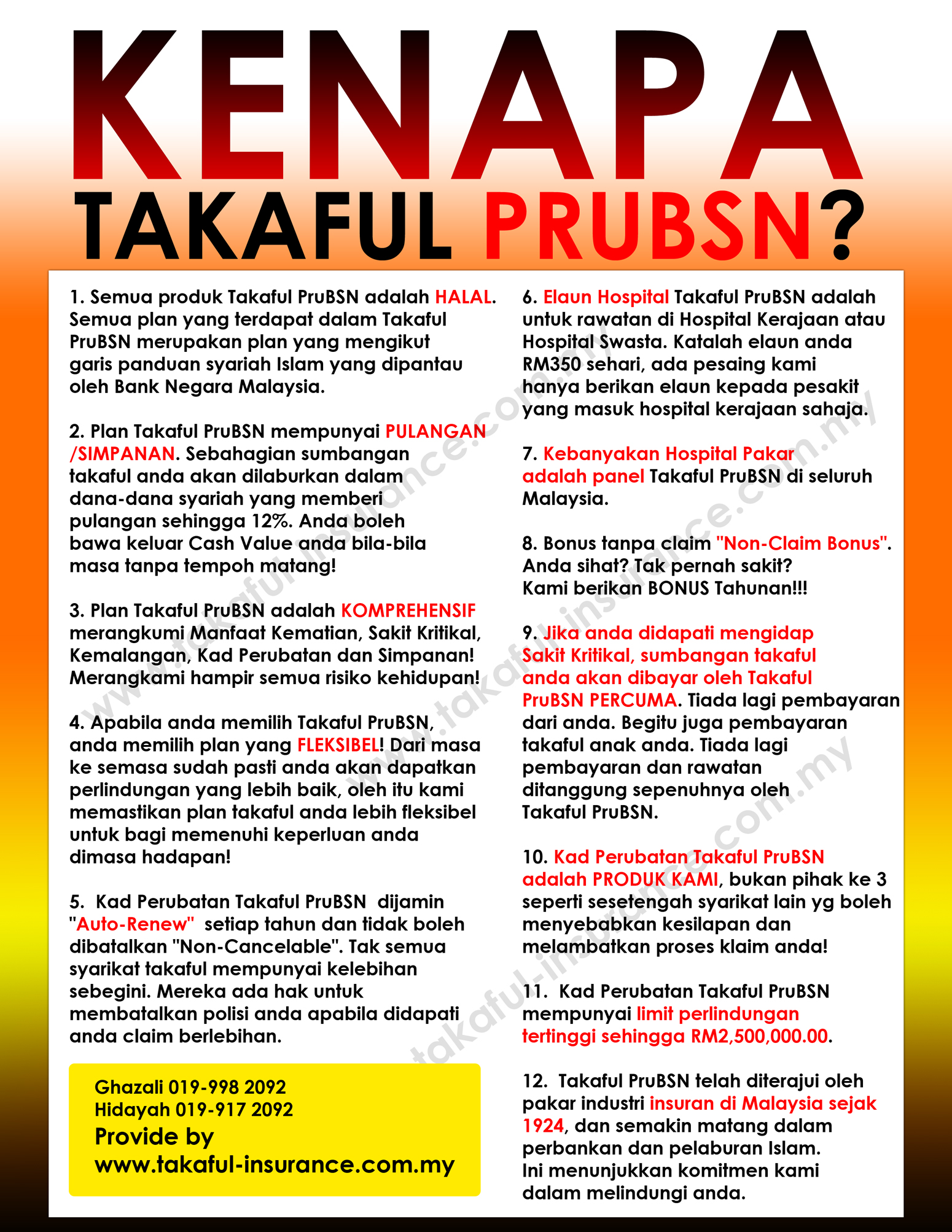 Kenapa pilih Takaful Prudential BSN?